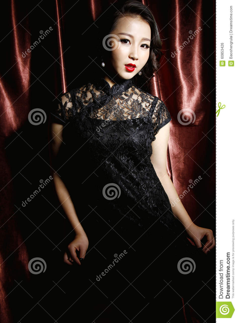 Woman wearing black chinese traditional dress