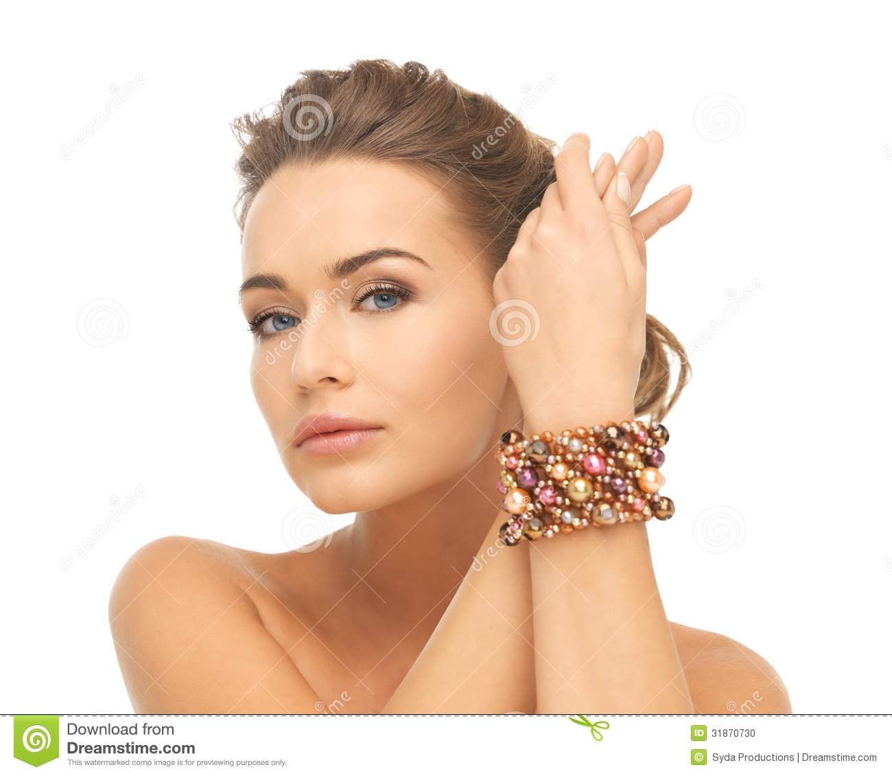 Woman Wearing Bracelet With Beads Stock Photo - Image of female ...