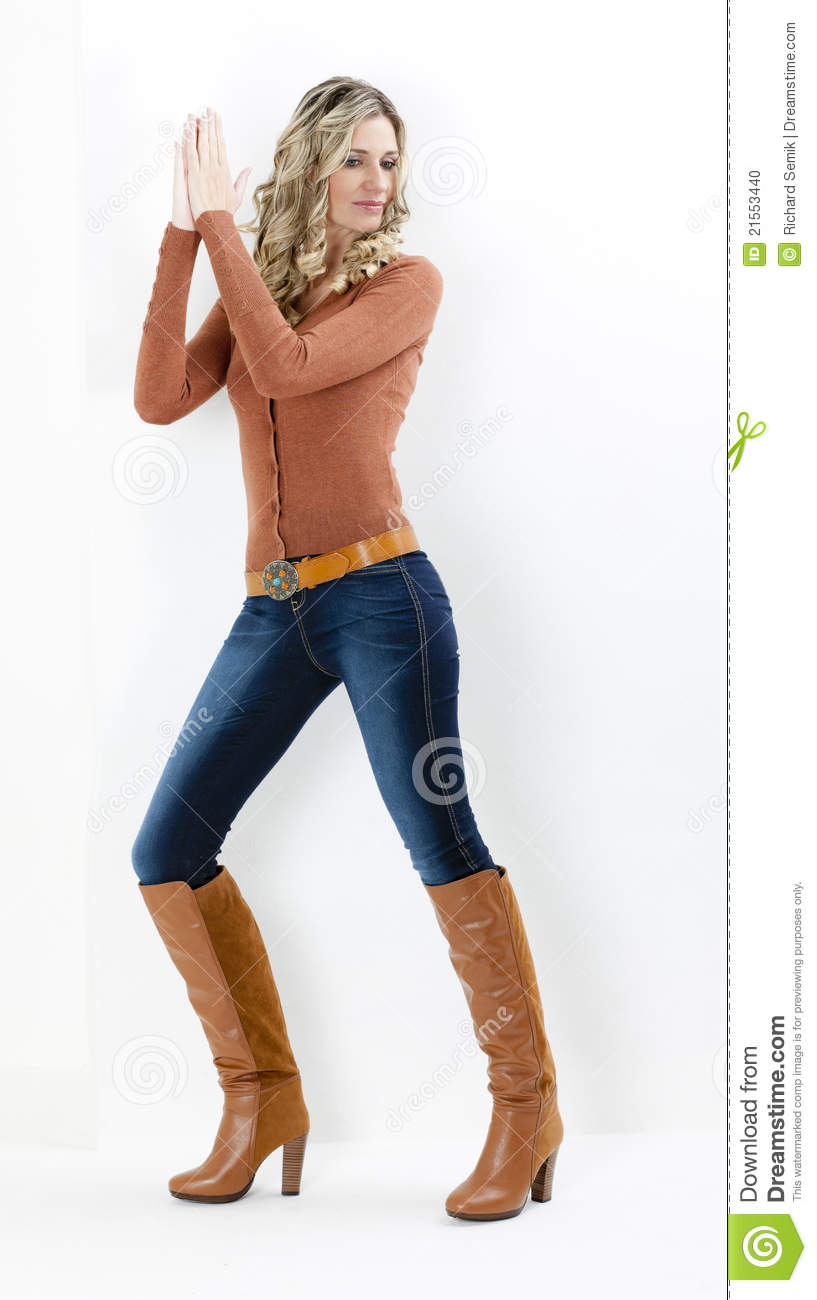 Woman Wearing Brown Boots Stock Photo - Image: 21553440