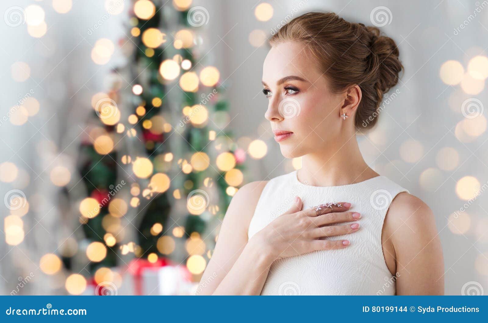 Woman Wearing Diamond Jewelry For Christmas Stock Photo - Image of ...