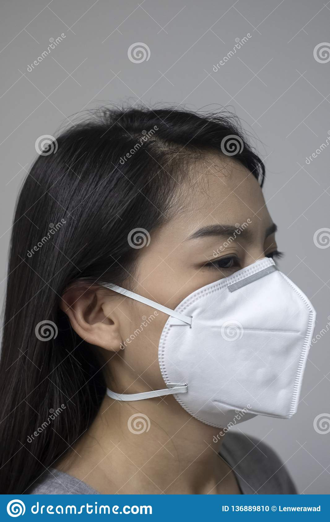 Woman Air In Mask Face Wearing Because Pollution N95 Of The