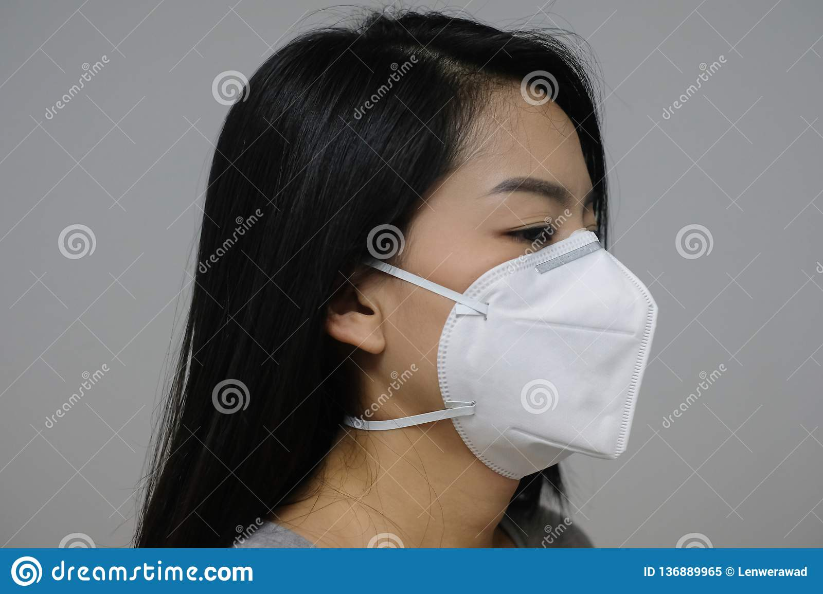 Woman Mask Of Wearing Because Pollution The Face Air In N95