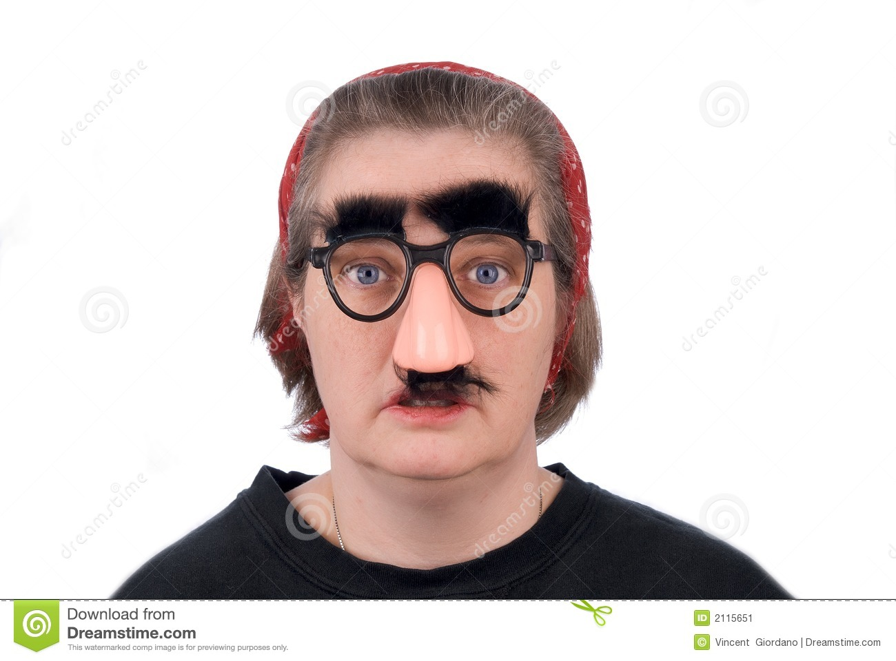 woman wearing fake nose and gl stock image