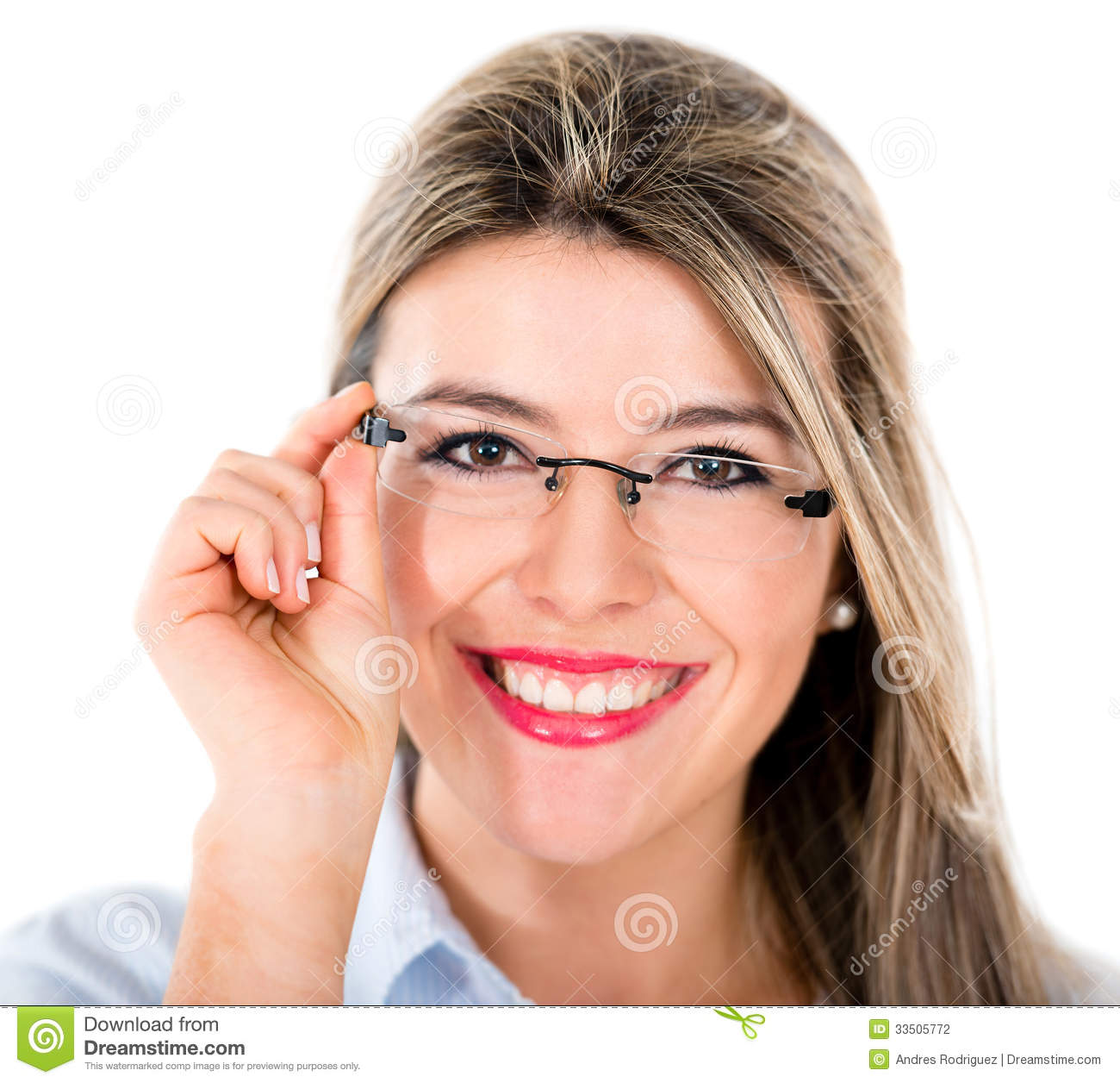 Happy woman portrait wearing glasses - isolated over white.