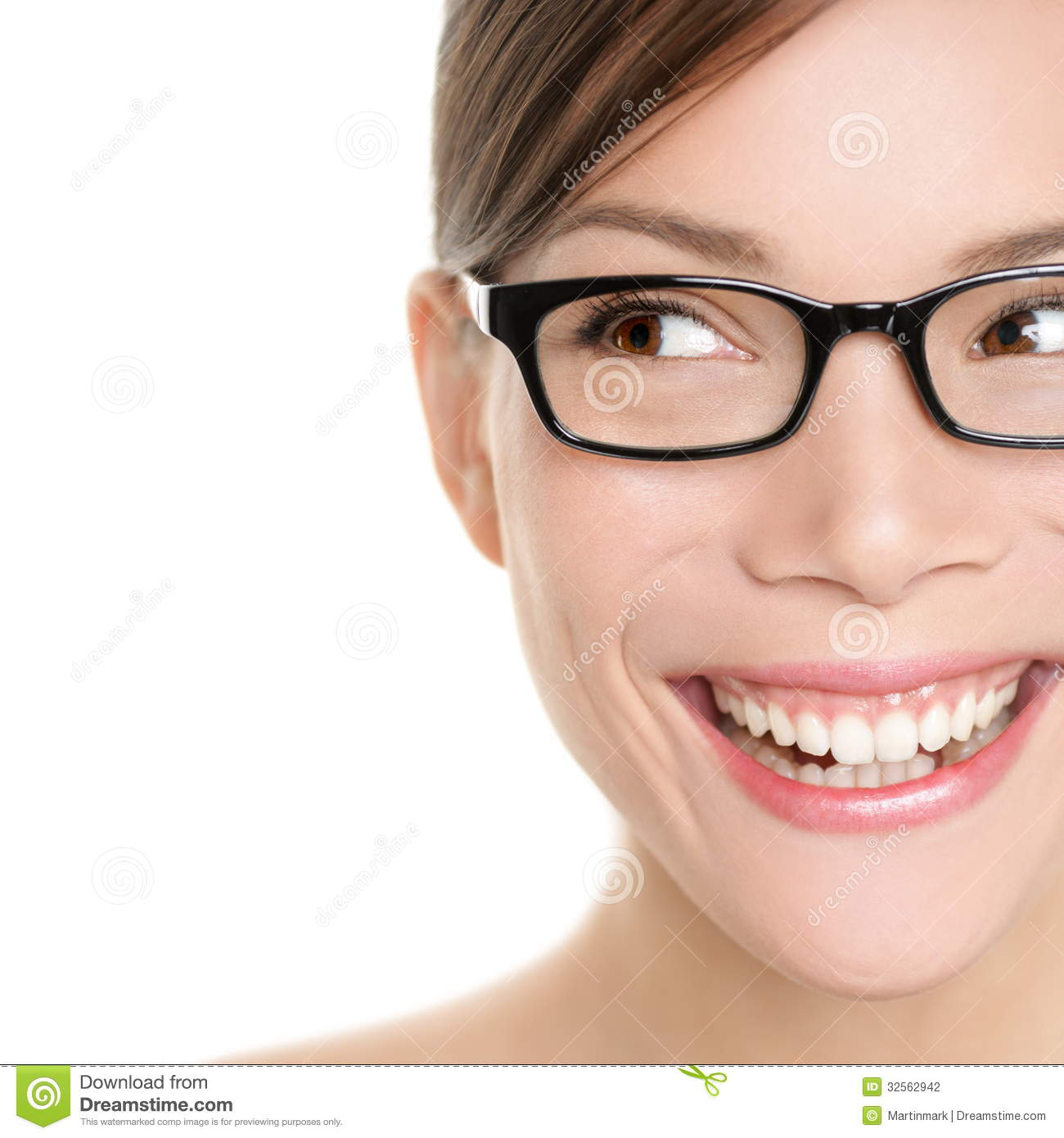 Woman Wearing Glasses Looking Happy To Side Stock Photo