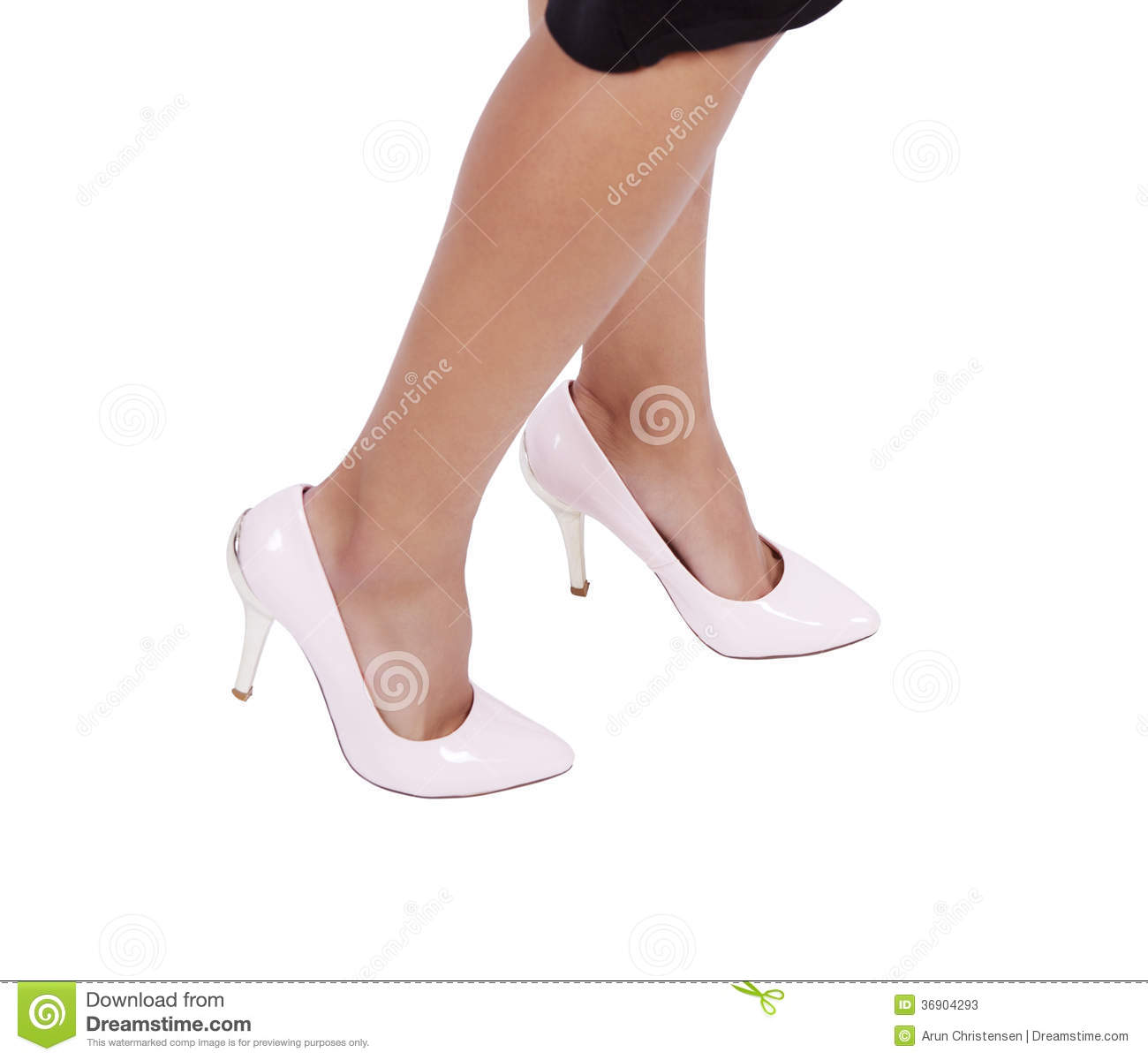 Woman Wearing Leather High Heels Stilettos Shoes Stock Photos - Image
