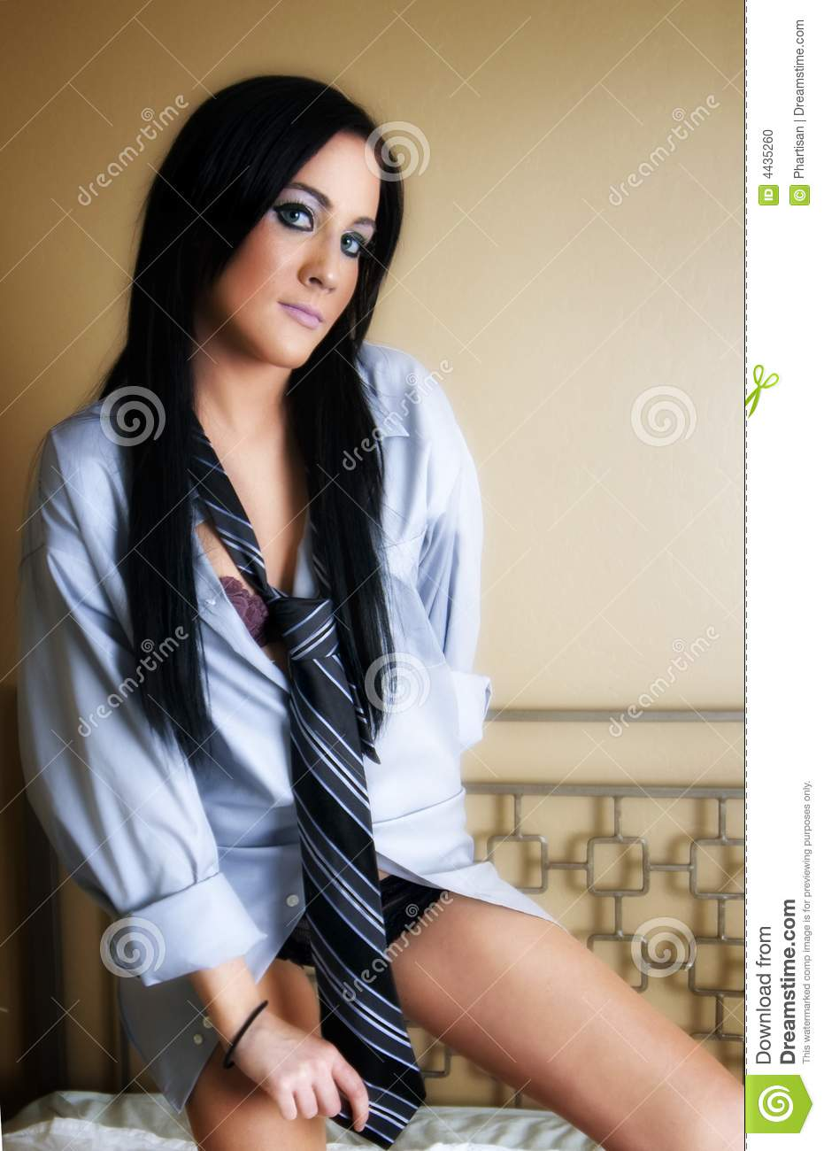 Woman Wearing Mens Shirt And Tie Stock Photo Image Of