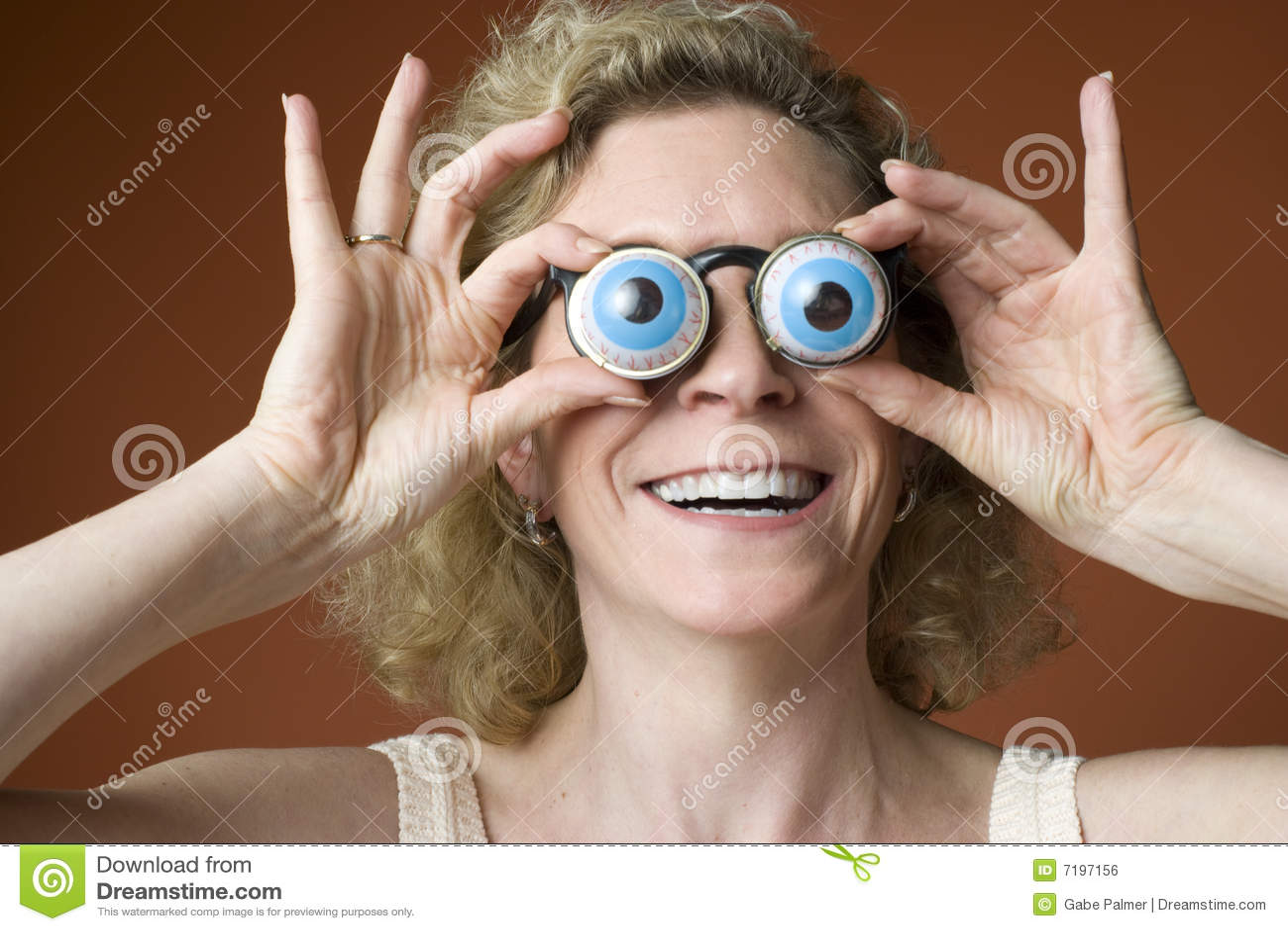Woman Wearing Novelty Eyeglasses Stock Photo