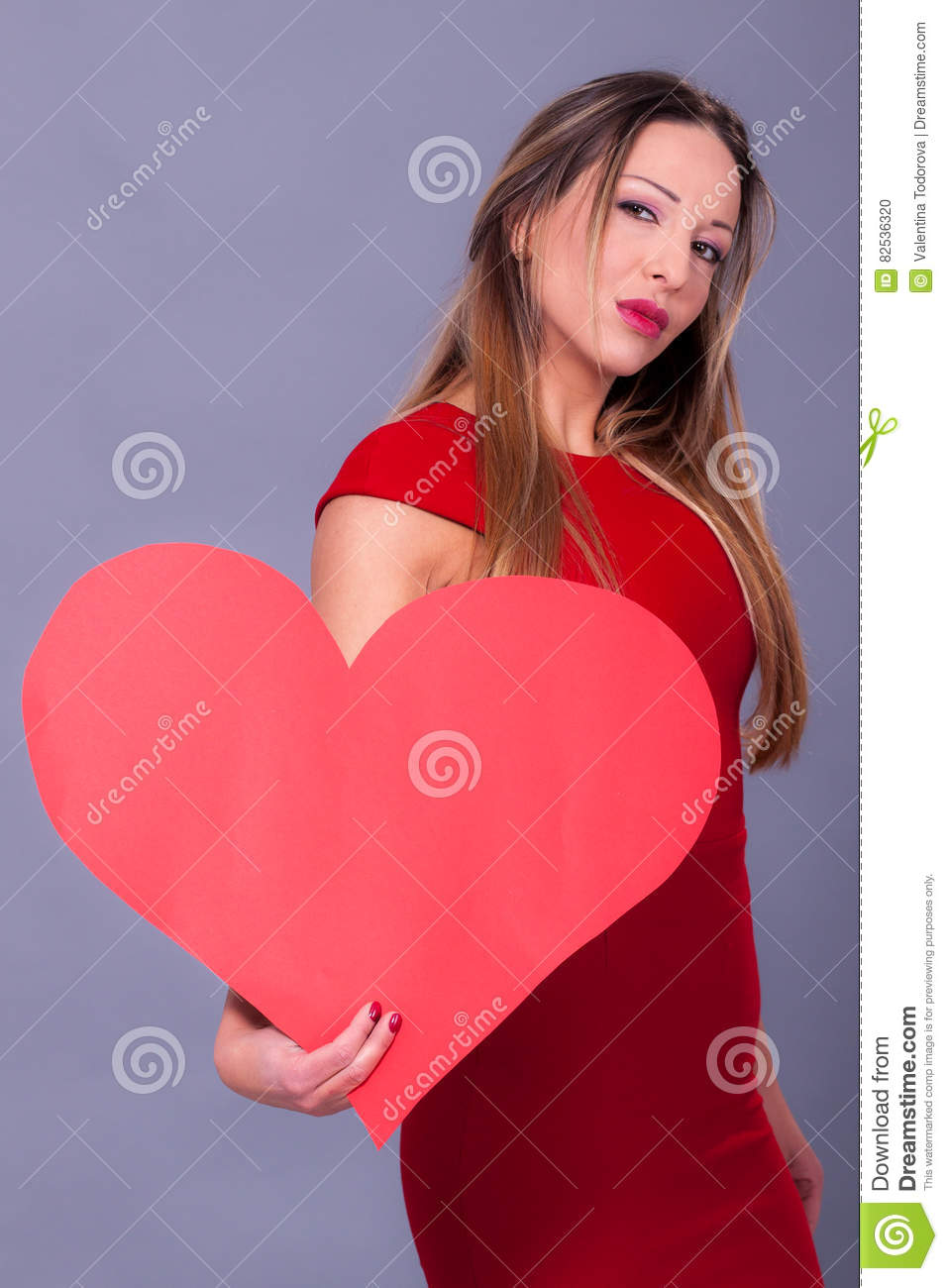 Woman Wearing Red Dress Holding Big Heart Sign Love Symbol Stock
