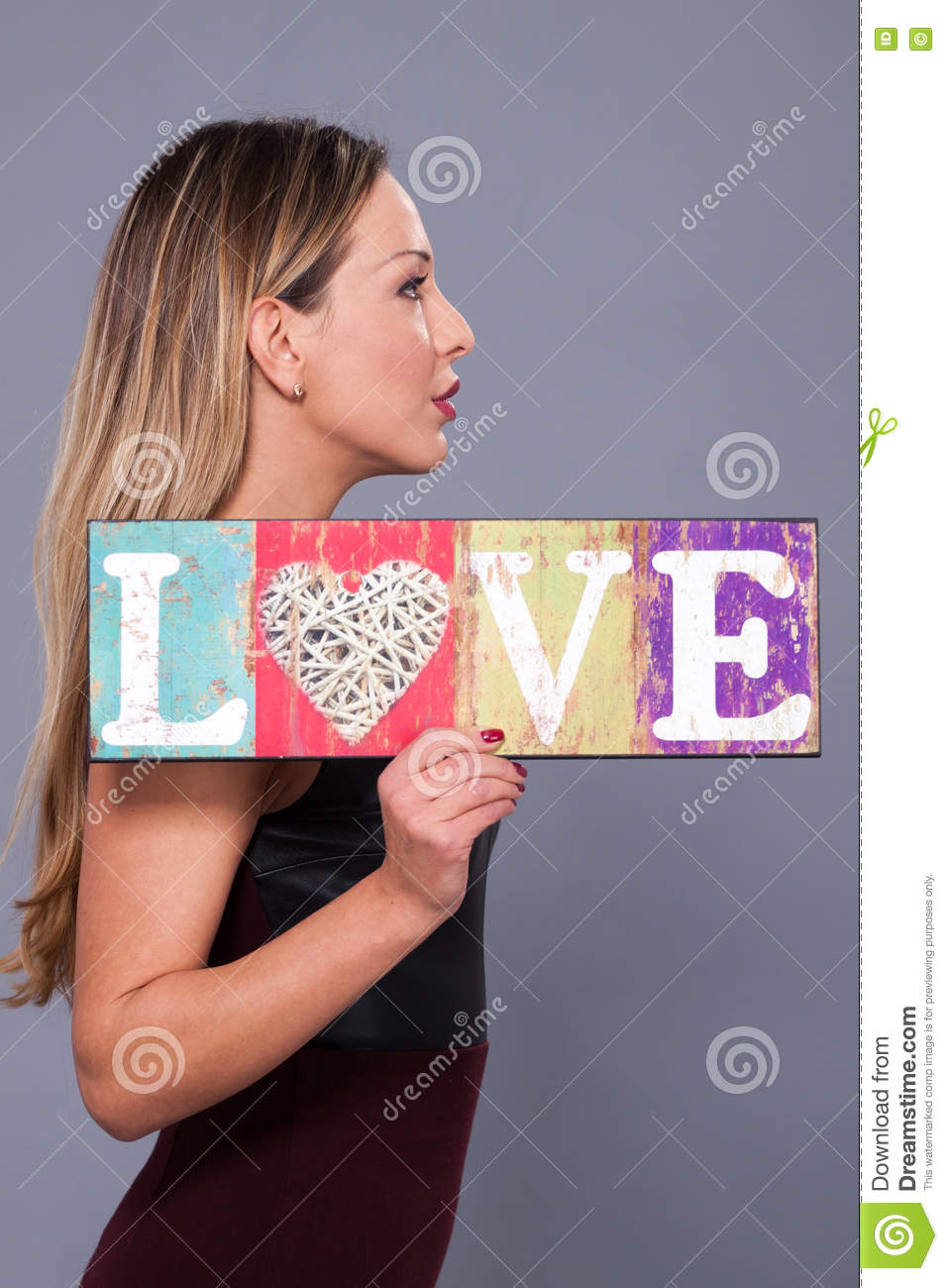 Woman Wearing Red Dress Holding Sign Love Symbol Stock Image Image