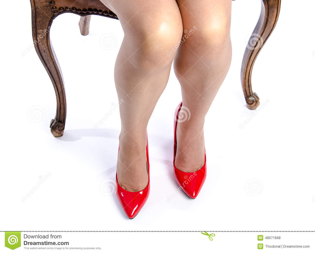 Woman Wearing Red High Heel Shoes Stock Photo - Image: 48071668
