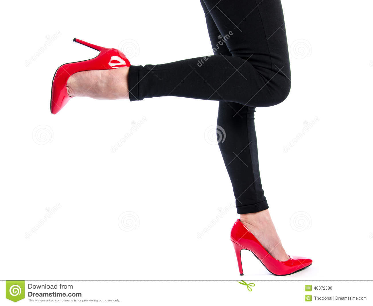 woman wearing red high heel shoes stock photo image