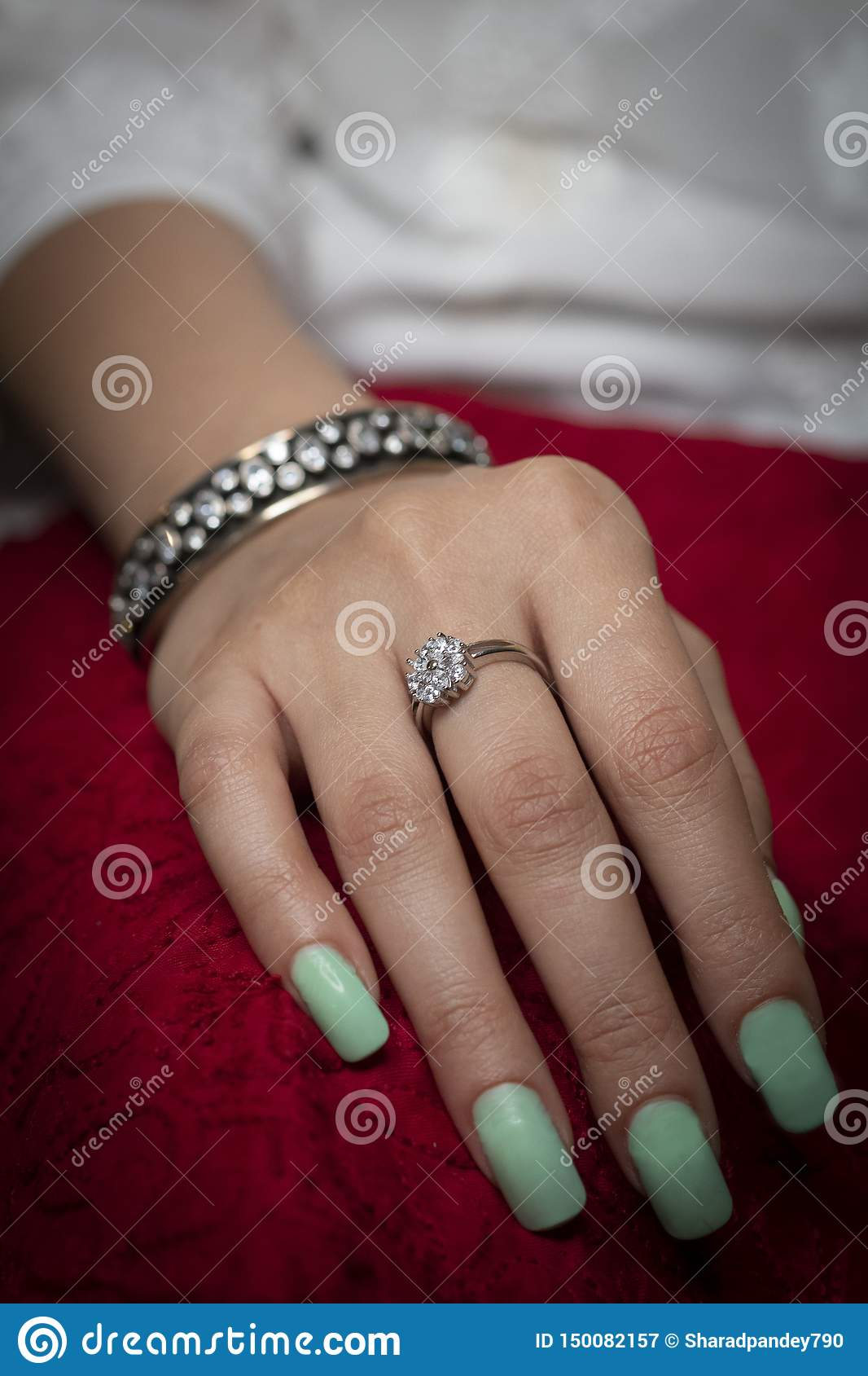 Woman wearing ring and bangle jewellery
