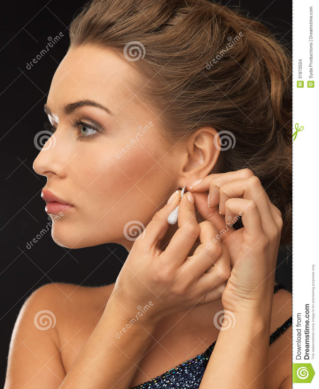 Popular Woman Wearing Shiny Diamond Earrings Stock Images  Image