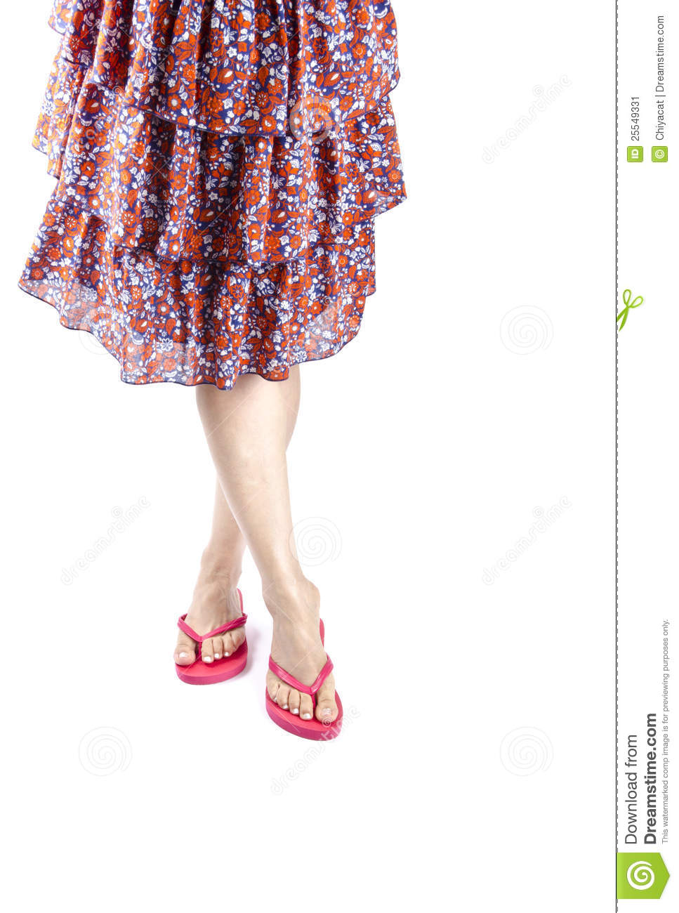 8c70629dd85b Woman Wearing Skirt And Red Flip Flops Stock Image - Image of female ...