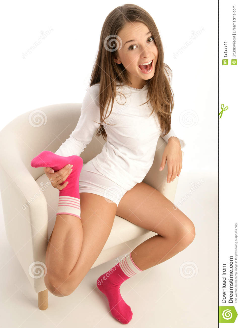 Woman Wearing Socks Stock Image Image 12127711
