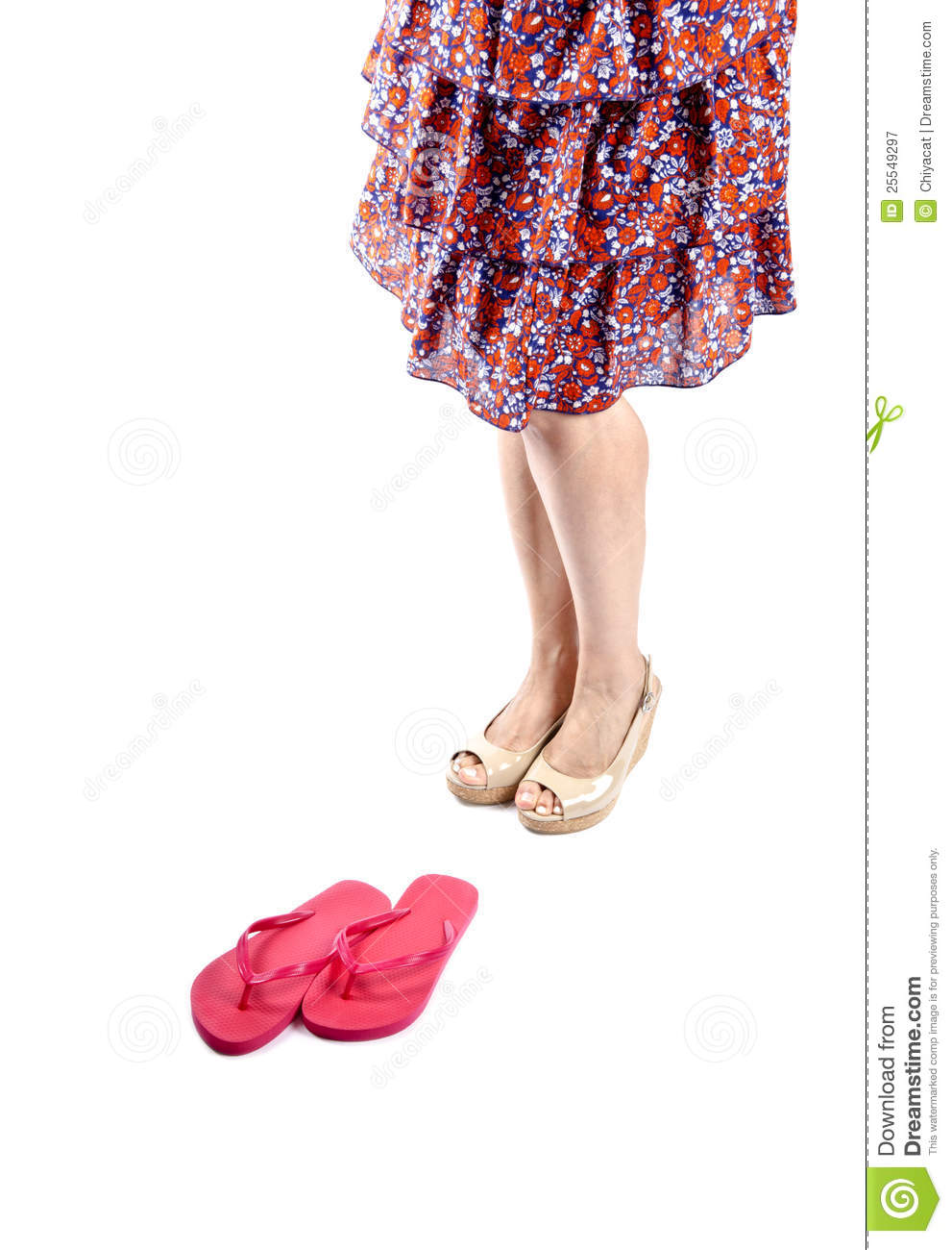 ca1c99327 Woman wearing neutral colored patent platform sandals and floral tiered  sundress isolated on white  3.