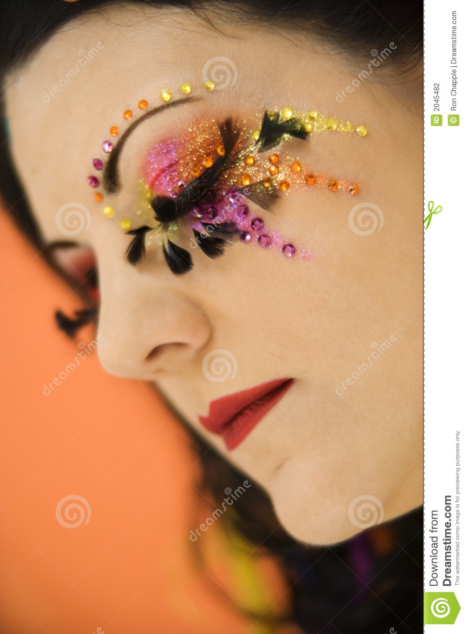 Woman Wearing Unique Makeup. Stock Photography - Image: 2045482