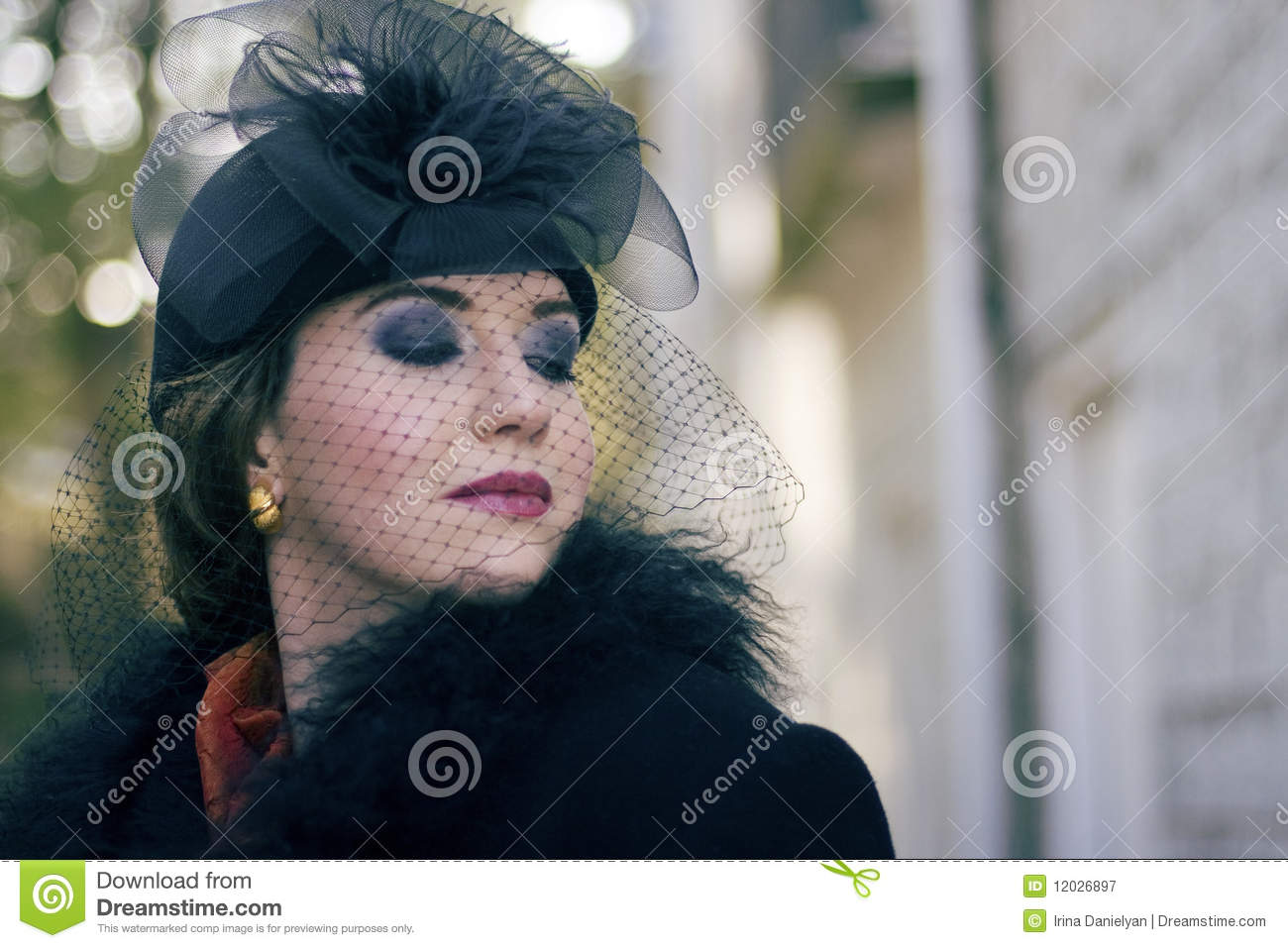 Woman Wearing A Vintage Hat With Veil Stock Image - Image of shot ... 32d421d511d