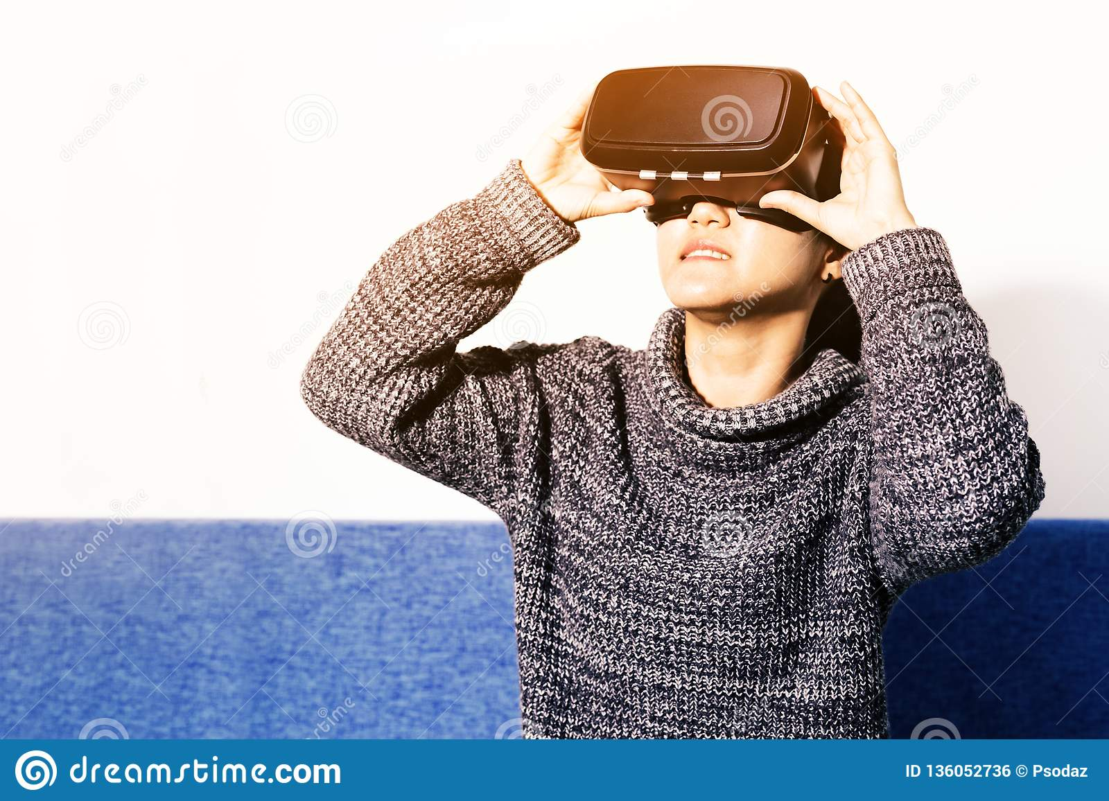 Woman Using VR Headset Glasses Stock Image - Image of