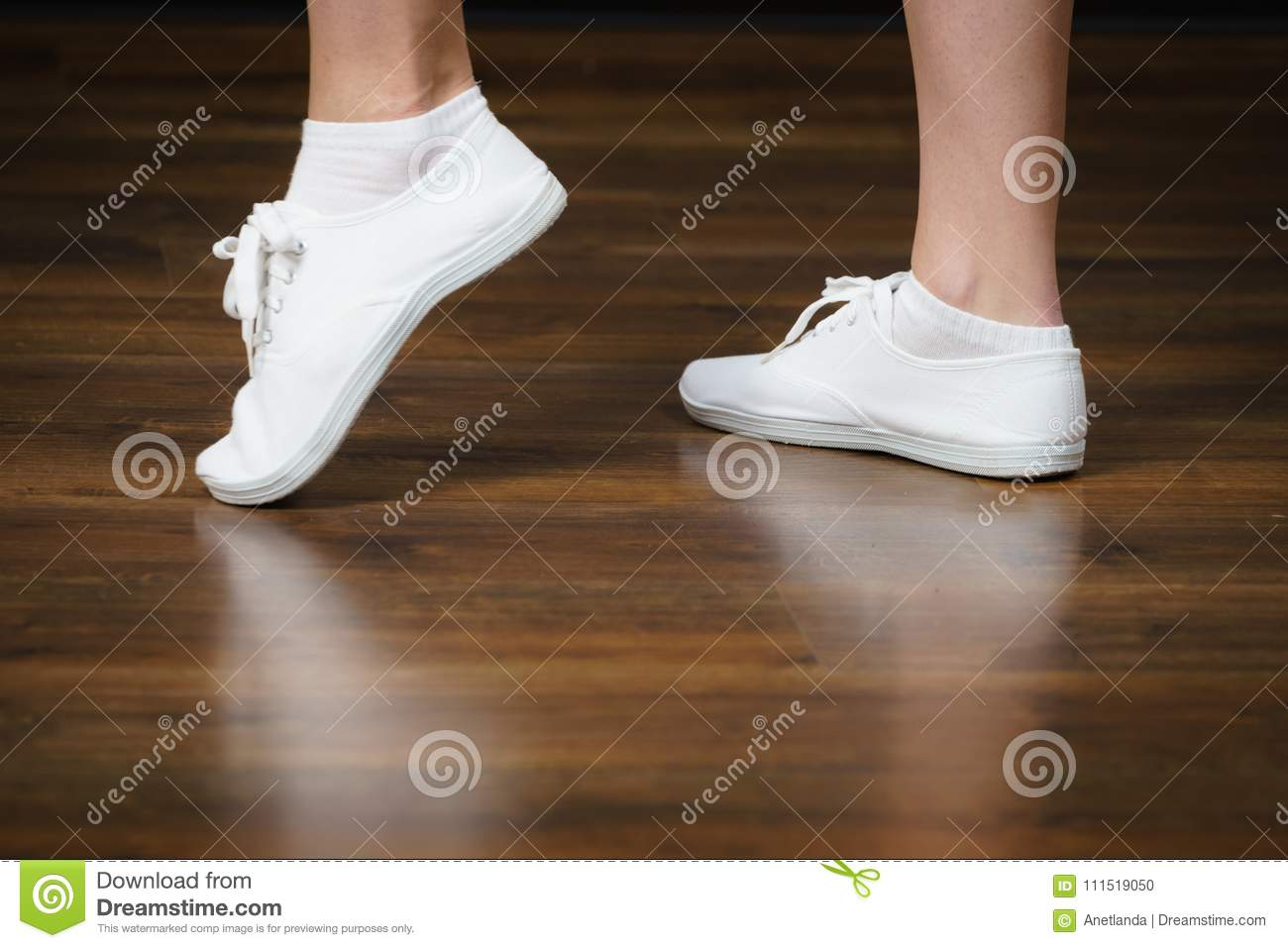 Woman Wearing White Bright Sneakers