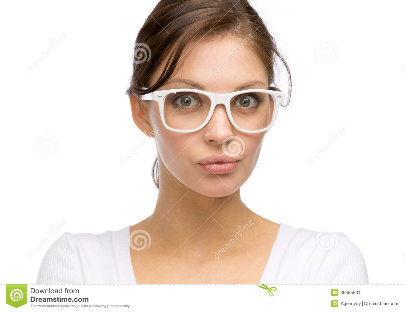 woman wearing white frame glasses