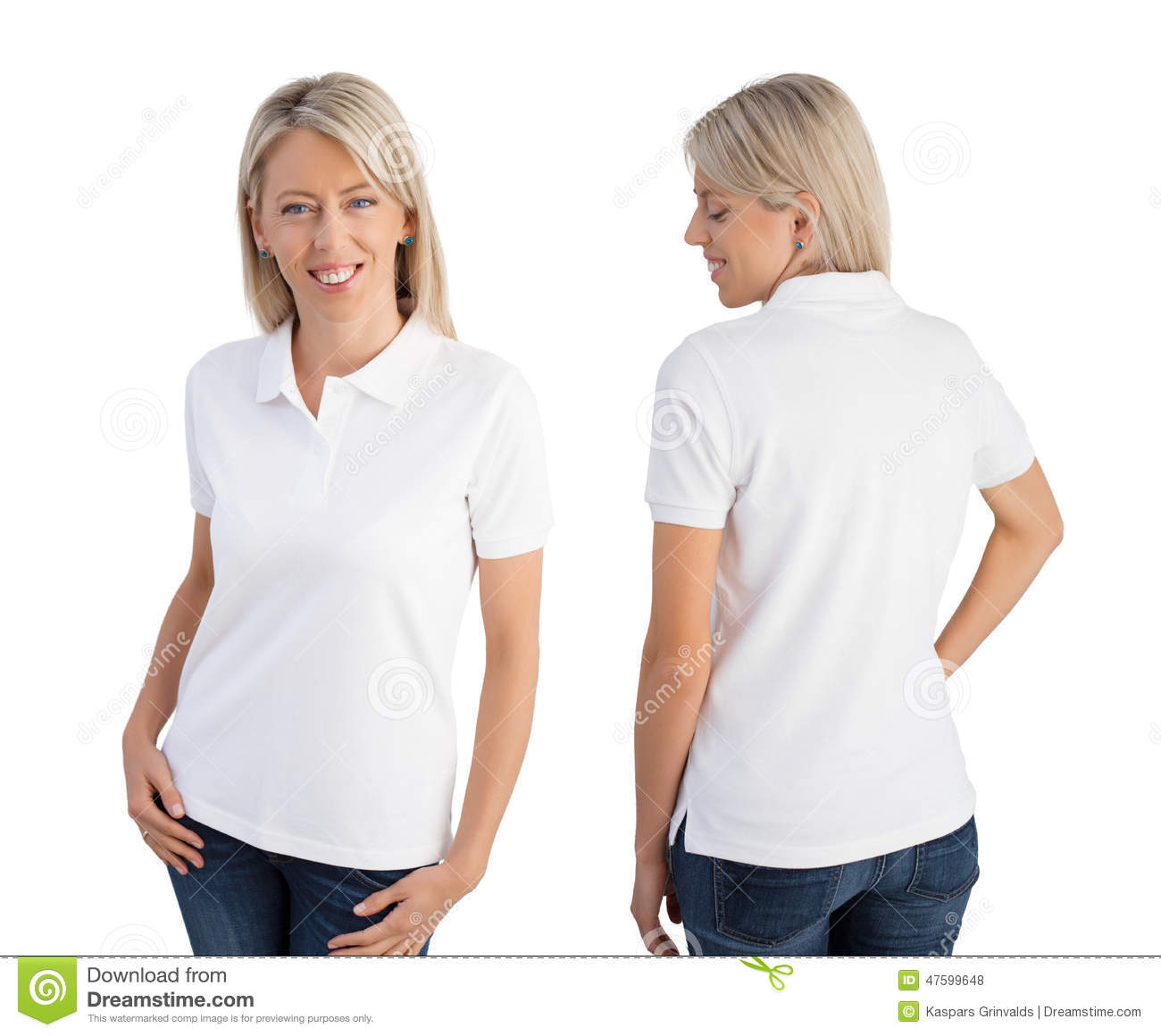 Woman wearing white polo shirt, front and back views.