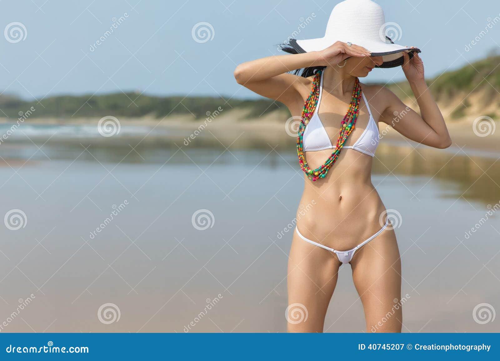 Woman Wearing White String Bikini Stock Photo Image