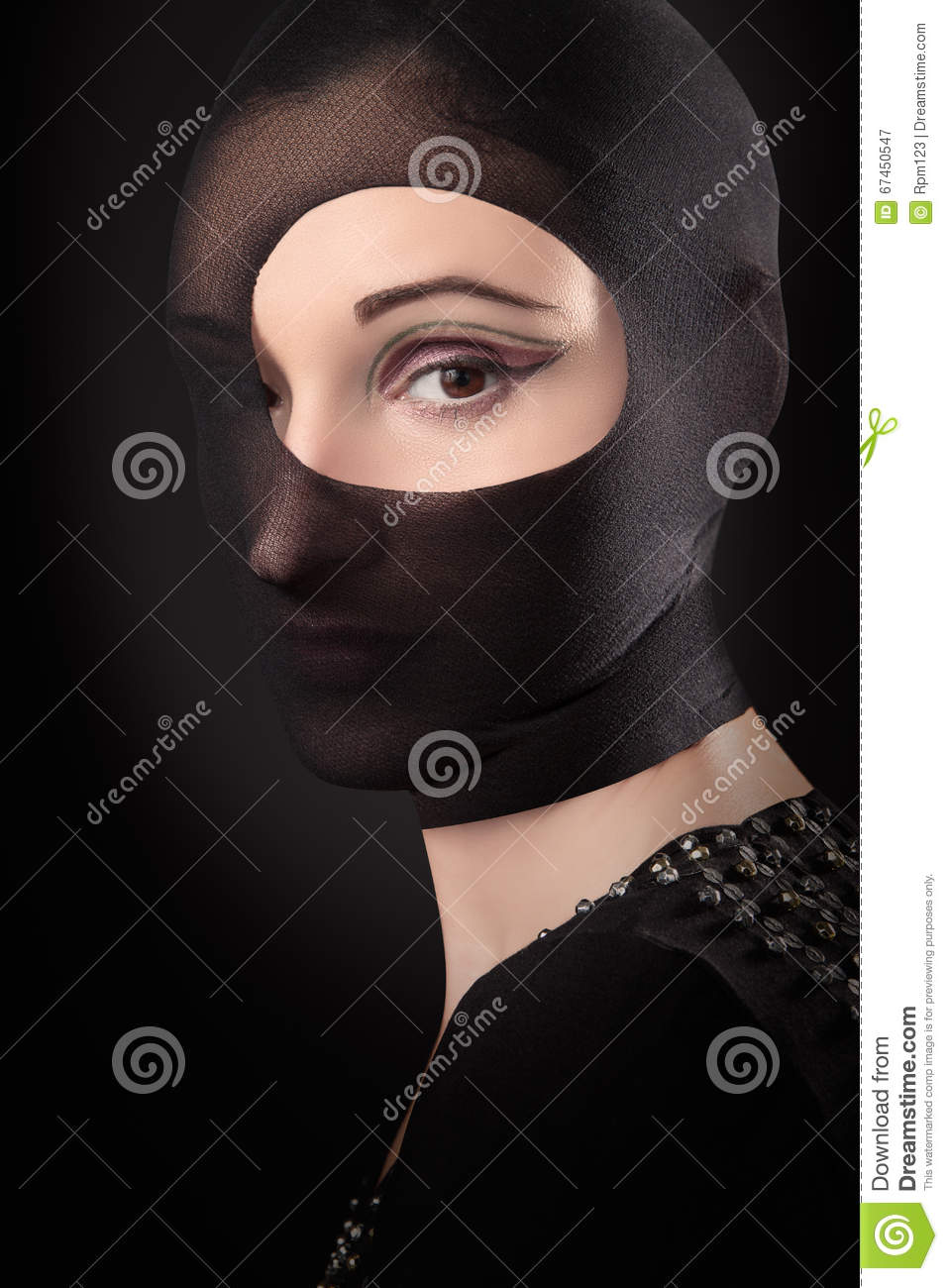 Woman in pantyhose mask