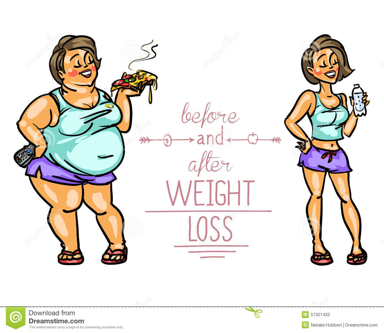 Woman Before And After Weight Loss Stock Vector - Image ...