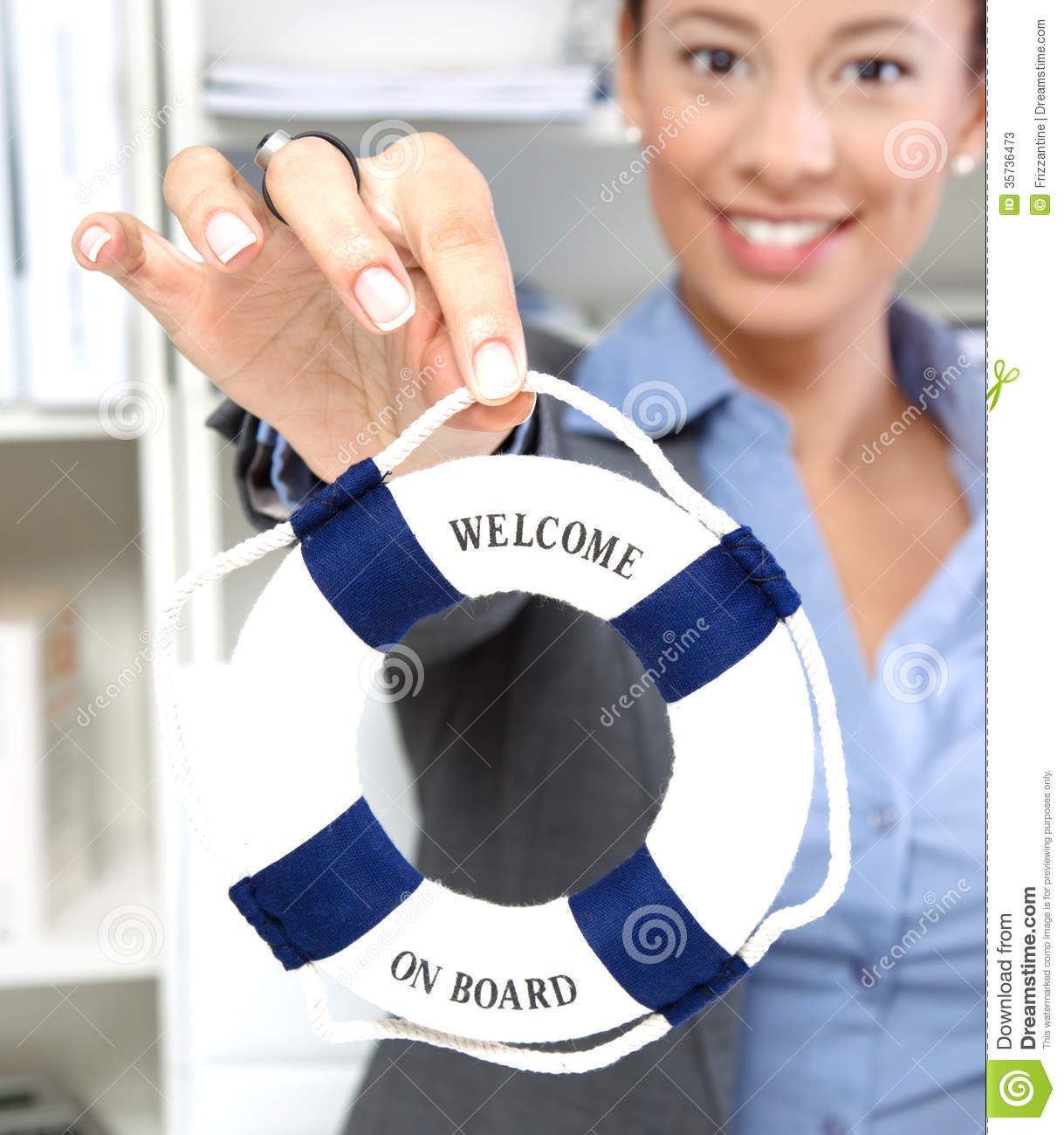 Woman with - Welcome to company lifebuoy