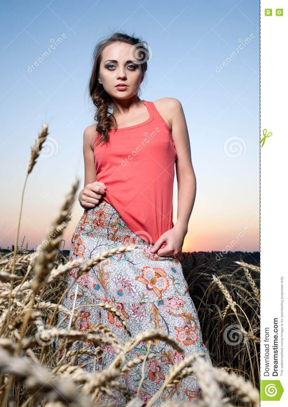 Woman in wheat field stock image. Image of life, field ...