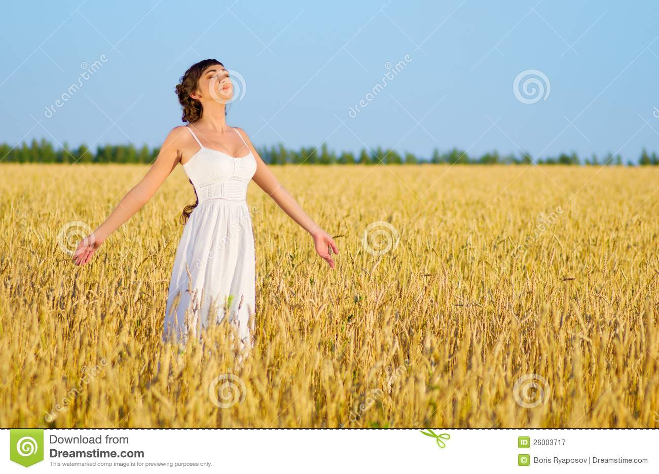 Woman On Wheat Field Royalty Free Stock Photography ...