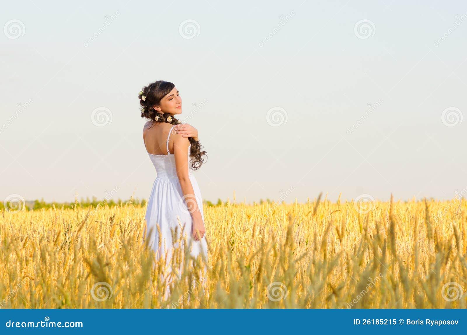 Woman On Wheat Field Royalty Free Stock Photo - Image ...