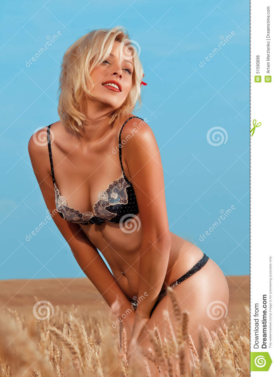 Woman in the wheat field stock photo. Image of model ...