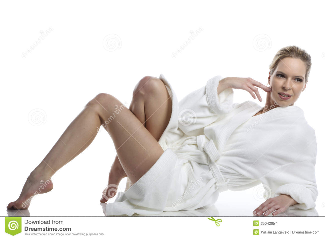 Bath Shower Seats Woman In White Bathrobe Stock Image Image Of Robe