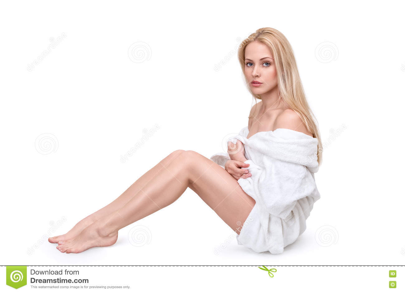 Woman in white bathrobe