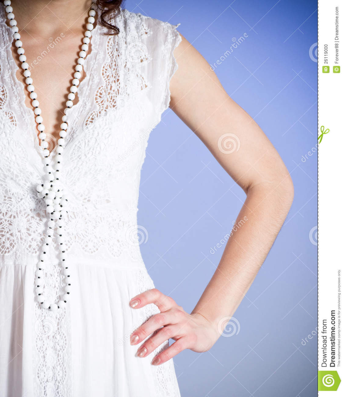 White Wedding Dress Meaning Dream : Woman in white bridal dress with beads stock photo image
