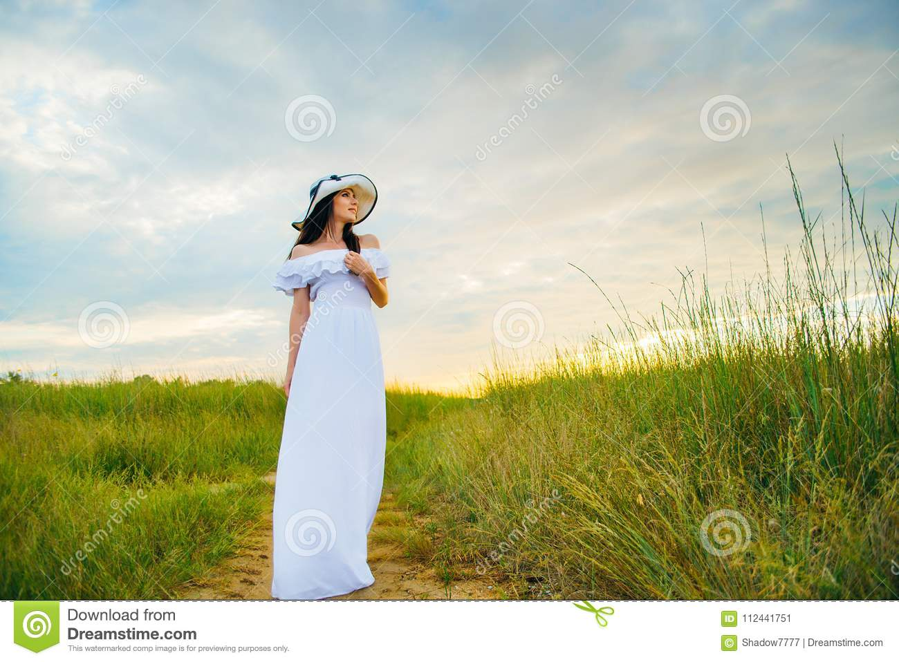 woman in a white dress on an stock image - image of beautiful, dress