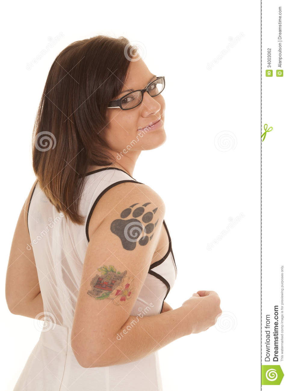 Woman white dress claw tattoo side glasses stock for Smile more tattoo
