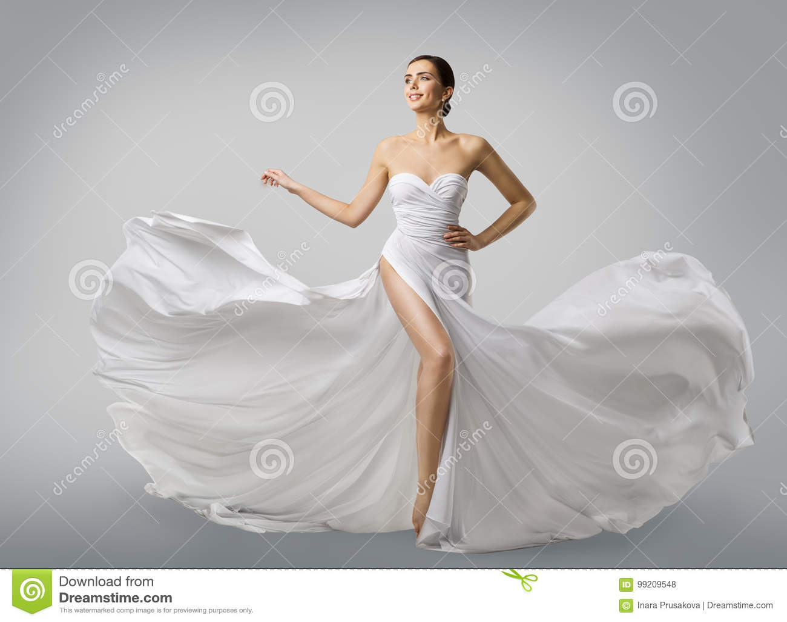 Woman White Dress, Fashion Model Bride In Long Silk Wedding Gown ...