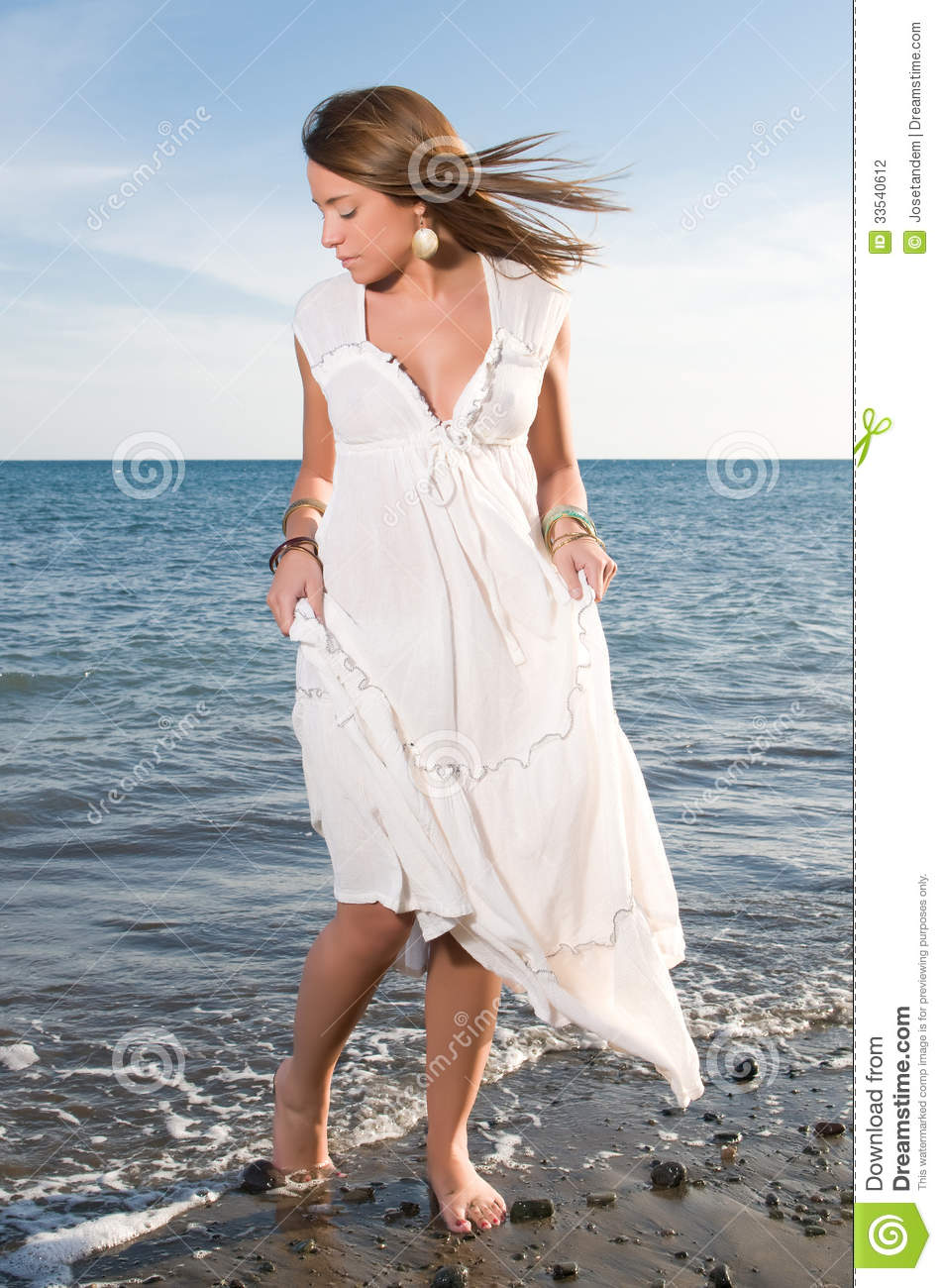 Woman In White Dress Near The Seaside Stock Photo - Image ...