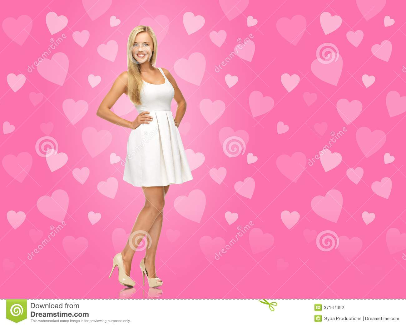Woman In White Dress Over Pink Background Stock