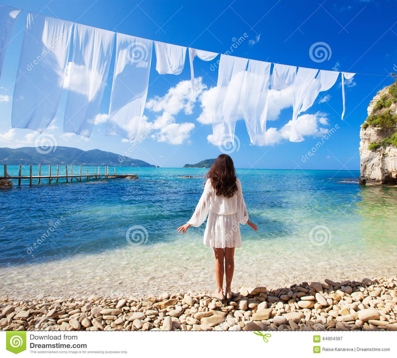 Woman Enjoying At Beach Stock Image Image Of Pleasure: Woman In White Dress Standing On Beach Stock Image