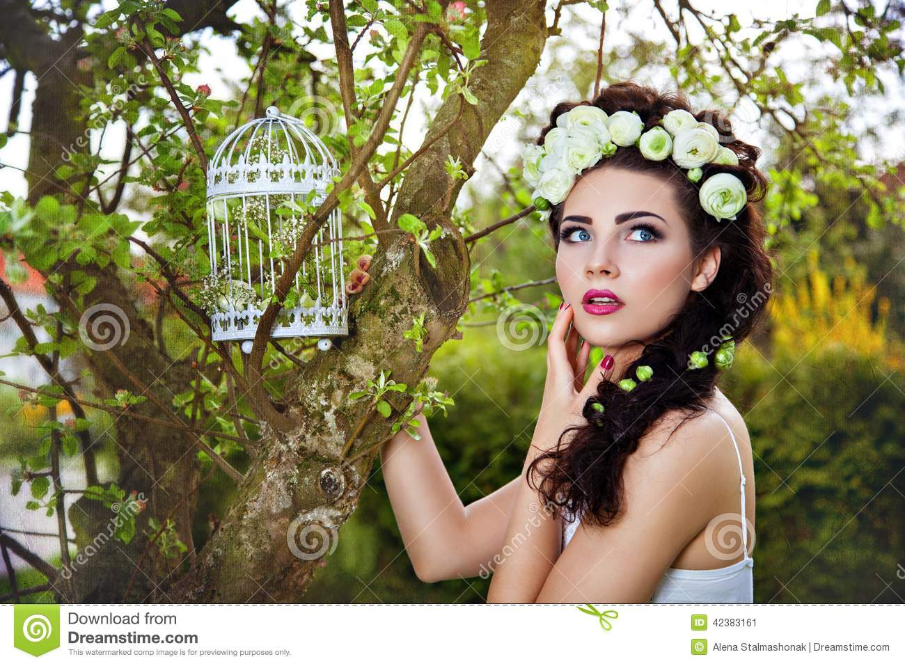 Woman With White Flowers In Hair And Birdcage Stock Image Image Of