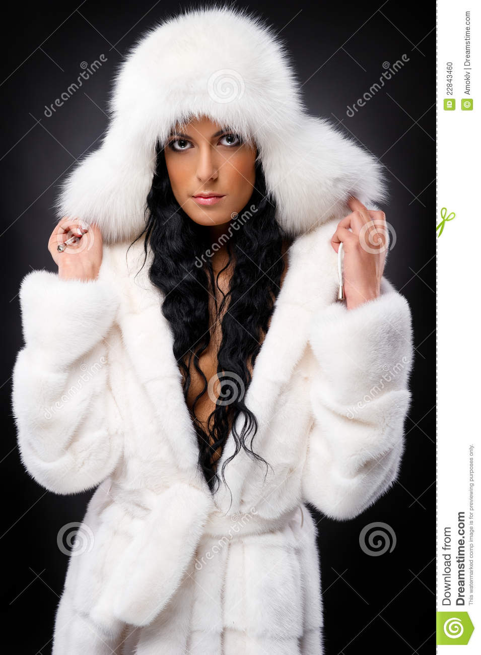 Woman In White Fur Coat And Hat Stock Photo - Image: 22843460