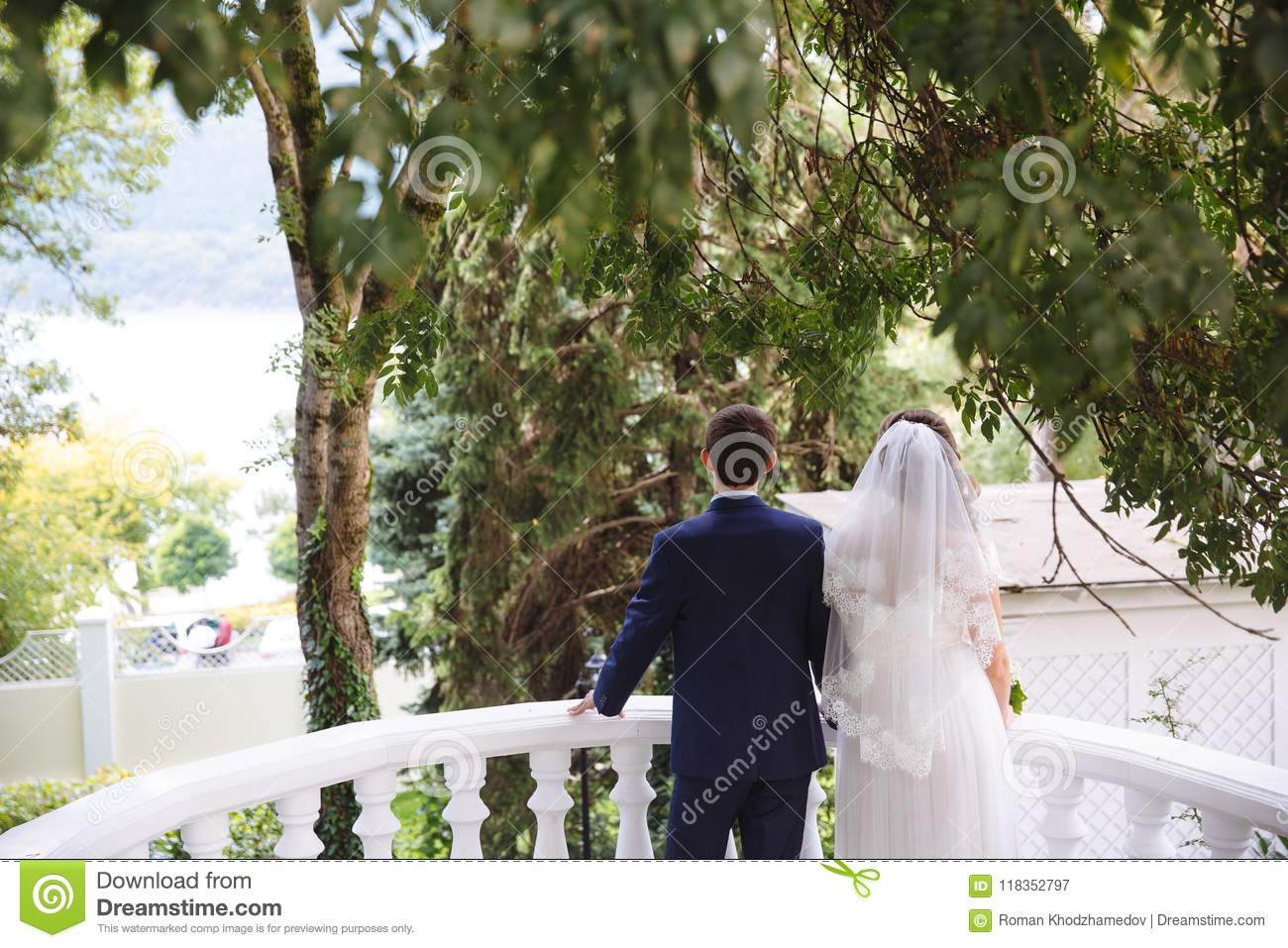 41ff26f150 A women with a white lace veil and a wedding dress is holding a men in a  business suit, a couple is standing on the balcony and admiring the view of  the ...