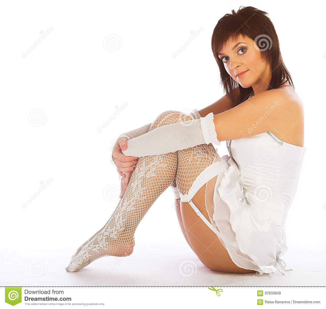 Woman in white lingerie stock image. Image of cute 252594c24