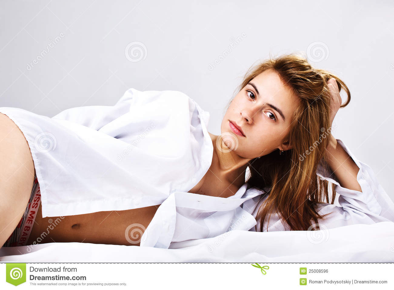 Woman In A White Men's Shirt Stock Photos - Image: 25008653