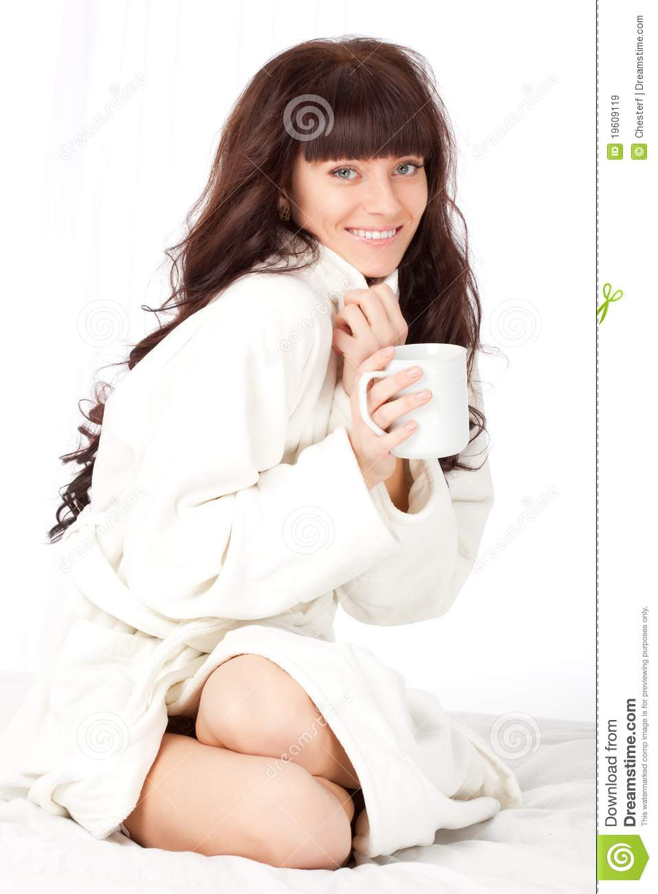 Woman With White Mug Wearing Dressing Gown Stock Image - Image of ...